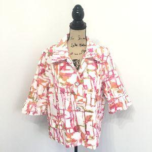 Chicos 3 Blazer XL White Pink 3/4 Sleeves Textured